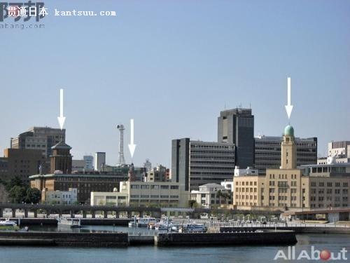 上图是从�C先生桥上看到的横滨三塔,从左手起K、J、Q