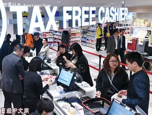 资料图片:在免税店购物的访日外国游客。(《日本经济新闻》网站)